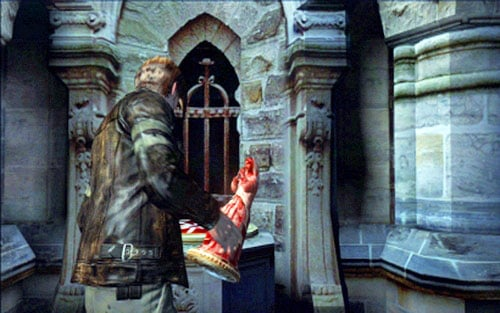 When you have two statues, place one of them on the podium next to the inscription - Chapter 2 - The Cathedral - Leon's campaign - Resident Evil 6 - Game Guide and Walkthrough