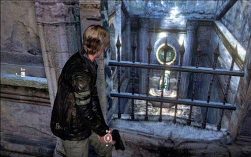 A further way leads up the stairs, where you have to aim your weapon at the mirror placed behind the grate downstairs - Chapter 2 - The Cathedral - Leon's campaign - Resident Evil 6 - Game Guide and Walkthrough