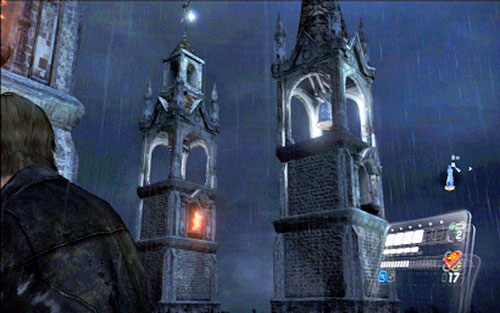 When you go to the left terrace, you have to shoot at the large bell and a small one - Chapter 2 - The Cathedral - Leon's campaign - Resident Evil 6 - Game Guide and Walkthrough