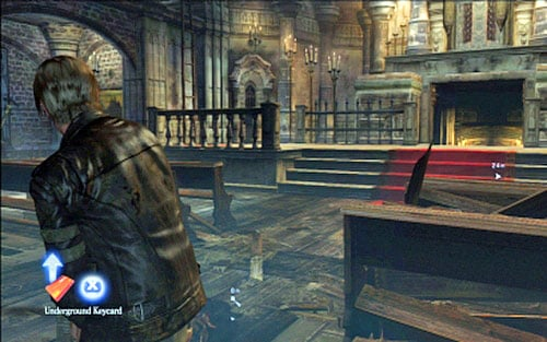 Next to the corpse you'll find a key card, which opens the door under the altar - Chapter 2 - The Cathedral - Leon's campaign - Resident Evil 6 - Game Guide and Walkthrough