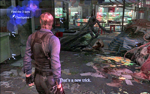 Run forwards until you get to the door which can be open with three keys - Chapter 4 - The Outdoor Market - Leon's campaign - Resident Evil 6 - Game Guide and Walkthrough