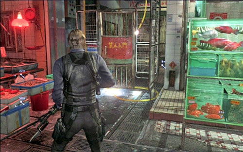 In order to the first key, head left - Chapter 4 - The Outdoor Market - Leon's campaign - Resident Evil 6 - Game Guide and Walkthrough