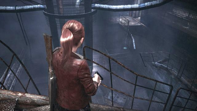 While returning, you can shoot a Tower Emblem. - Escape the facility - cont. - Penal Colony - Claire - Resident Evil: Revelations 2 - Game Guide and Walkthrough