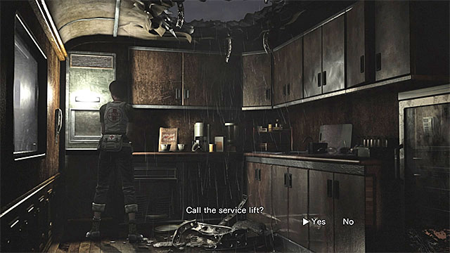 The service lift can be found in one of the corners of the kitchen - Ecliptic Express trains - the start of the cooperation with Billy - Walkthrough - Resident Evil Zero HD - Game Guide and Walkthrough