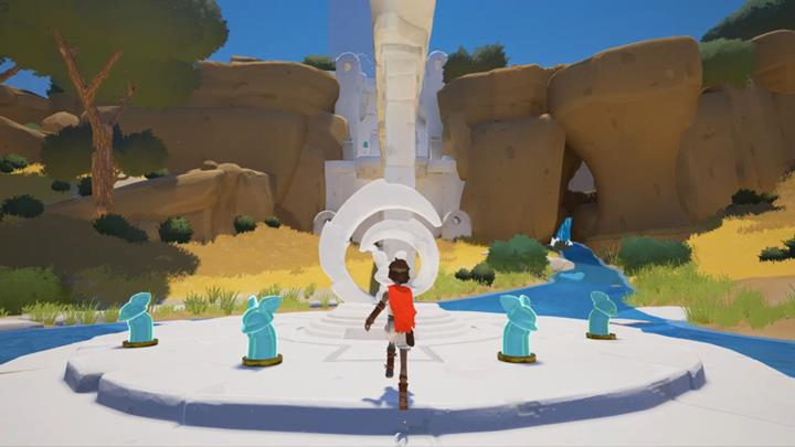 Activate the figurines and go over the bridge to the next location . - Activation of the four figurines | Chapter 1 - Walkthrough - Chapter 1 - Rime Game Guide