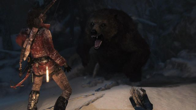 The last phase of the encounter with the bear is a simple QTE - Investigate the ruins | Siberian Wilderness - Echoes of the Past - Siberian Wilderness - Echoes of the Past - Rise of the Tomb Raider Game Guide & Walkthrough