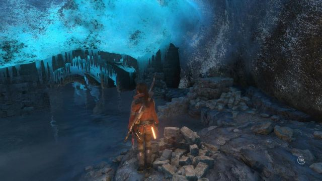 Jump down, where Lara slides down into another big cave - Follow the Mongolian path and search for the signs of the Lost City | Siberian Wilderness - Best Laid Plans - Siberian Wilderness - Best Laid Plans - Rise of the Tomb Raider Game Guide & Walkthrough