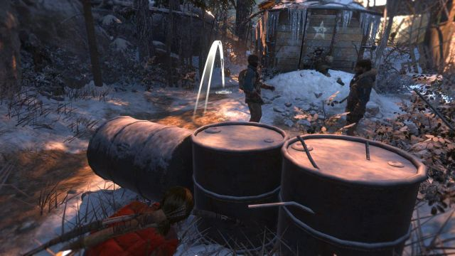 Then, hide behind the oil drums and pick up one of the bottles around - Sneak into the old Soviet base | Among the Enemy - Among the Enemy - Rise of the Tomb Raider Game Guide & Walkthrough