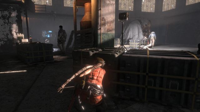 You will get into a big hangar-like area - Find a way into the old prison | Among the Enemy - Among the Enemy - Rise of the Tomb Raider Game Guide & Walkthrough