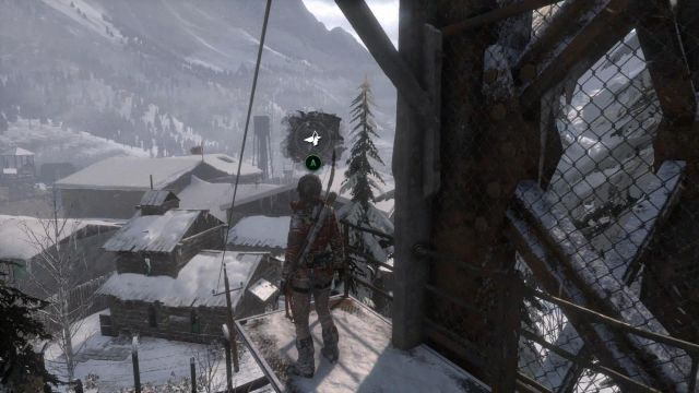 As soon as you strike a deal with the trader, leave the shack through the back door, climb up the ladder to the metal plank and zipline straight into the prison - Use communications cables to zip line into the prison grounds | Unexpected Discovery - Unexpected Discovery - Rise of the Tomb Raider Game Guide & Walkthrough