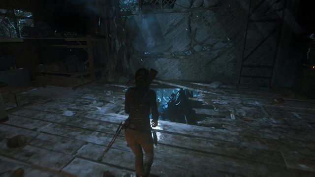 After a longer fire exchange, one of the opponents will make a hole in the floor, after he drops dead - Fight through the Trinity base to the old train station | Get Out of Dodge - Get Out of Dodge - Rise of the Tomb Raider Game Guide & Walkthrough
