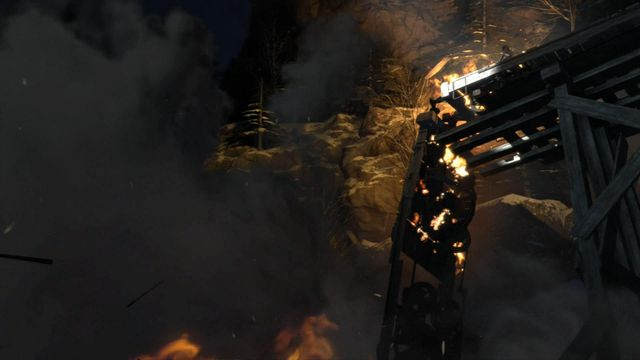 The bridge that the train stood on collapses and Lara drops into freezing-cold water - Escape the helicopter | Fugitives - Fugitives - Rise of the Tomb Raider Game Guide & Walkthrough
