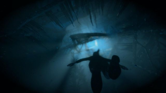 Unfortunately, Lara cannot hold her breath underwater for longer and, if you do not start tapping B button rhythmically, she drowns before surfacing - Survive the freezing waters | Fugitive - Fugitive - Rise of the Tomb Raider Game Guide & Walkthrough