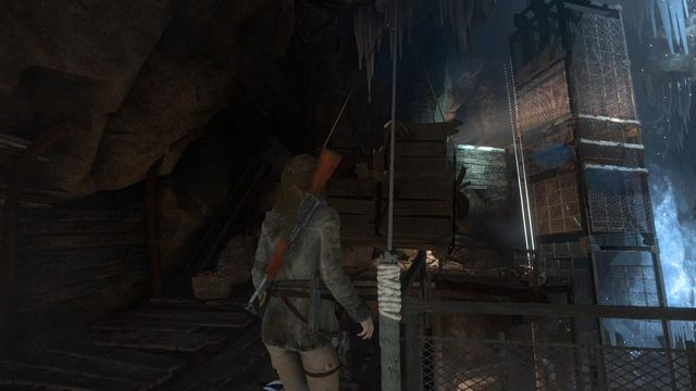 Cut the first rope next to the table with the knife on - Find a way through the mountain | Shortcut - Shortcut - Rise of the Tomb Raider Game Guide & Walkthrough