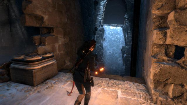 After you defeat all of the opponents, on the left you find the chamber exit, over the ice wall - Break through the door | Shortcut - Shortcut - Rise of the Tomb Raider Game Guide & Walkthrough