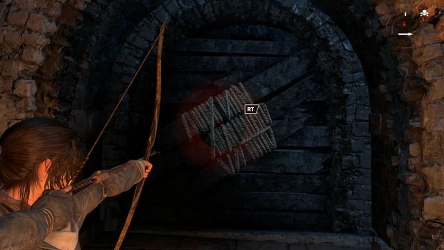 After you climb onto the ice wall, rip out the blockade by pulling on the rope attached to the rope-wound part, with the arrow - Break through the door | Shortcut - Shortcut - Rise of the Tomb Raider Game Guide & Walkthrough