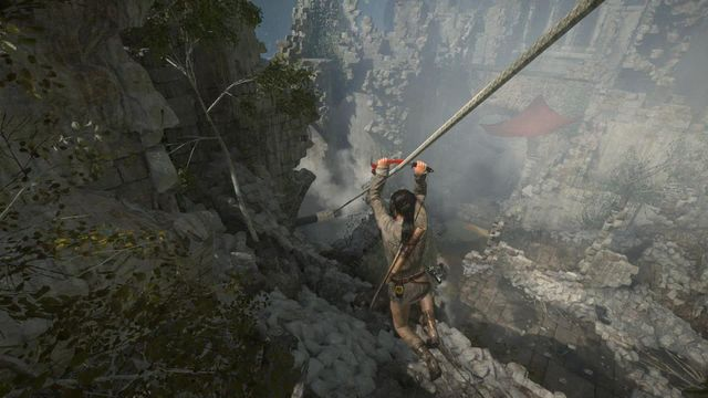 As soon as you resurface, walk around the ruins and zip down the line into the valley - Enter the valley | Warming Up - Warming Up - Rise of the Tomb Raider Game Guide & Walkthrough