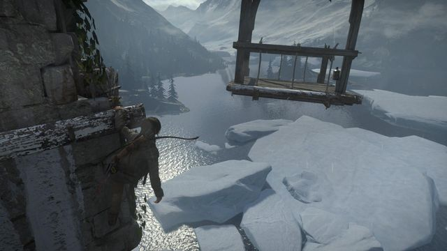 The final phase of the climb consists in jumping over towards the wooden lift - Light the Signal Fire on the Spire | Prepare for Battle - Prepare for Battle - Rise of the Tomb Raider Game Guide & Walkthrough