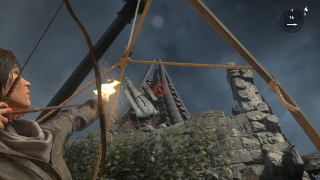 While atop the lift, look up, select flame arrow and shoot it towards the stack - Light the Signal Fire on the Spire | Prepare for Battle - Prepare for Battle - Rise of the Tomb Raider Game Guide & Walkthrough