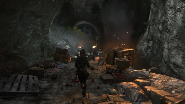 After you cross the gate, run up a little and turn left - Find a way into the Acropolis | Into the Acropolis - Into the Acropolis - Rise of the Tomb Raider Game Guide & Walkthrough