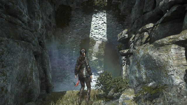 Once again, you need to take a long jump and use the hatchet - Find a way into the Acropolis | Into the Acropolis - Into the Acropolis - Rise of the Tomb Raider Game Guide & Walkthrough