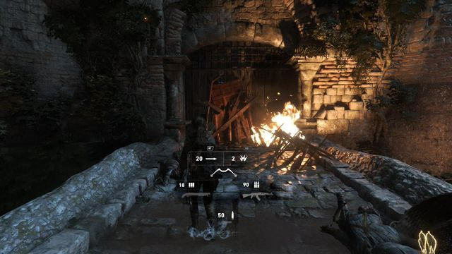 Again, pick the explosive arrow and shoot it at the junk that is blocking the gate - Breach the gate to the Tower Courtyard | To the Tower - To the Tower - Rise of the Tomb Raider Game Guide & Walkthrough