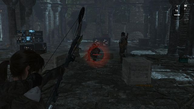 The only enemies that you can get from behind, stealthily, are the three in the screenshot above - Defeat Trinity forces | Rescue Mission - Rescue Mission - Rise of the Tomb Raider Game Guide & Walkthrough