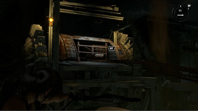 In the spot shown in the screenshot, you can attach a rope and release the cart - Tomb - Red Mines [2/9] | Soviet Installation - Soviet Installation - Rise of the Tomb Raider Game Guide & Walkthrough