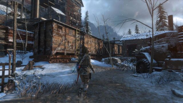 After you get to the grounds of the mill, climb up the yellow ladder, onto the first railway car - Climb the copper mill to reach the mine entrance | Alone Again - Alone Again - Rise of the Tomb Raider Game Guide & Walkthrough