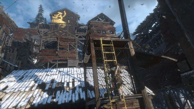 Over the next ladder, climb onto the first level of the copper mill - Climb the copper mill to reach the mine entrance | Alone Again - Alone Again - Rise of the Tomb Raider Game Guide & Walkthrough