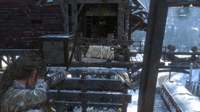 To jump over from the left side of the mill to the right one, you first need to rip away the wooden fence - Climb the copper mill to reach the mine entrance | Alone Again - Alone Again - Rise of the Tomb Raider Game Guide & Walkthrough