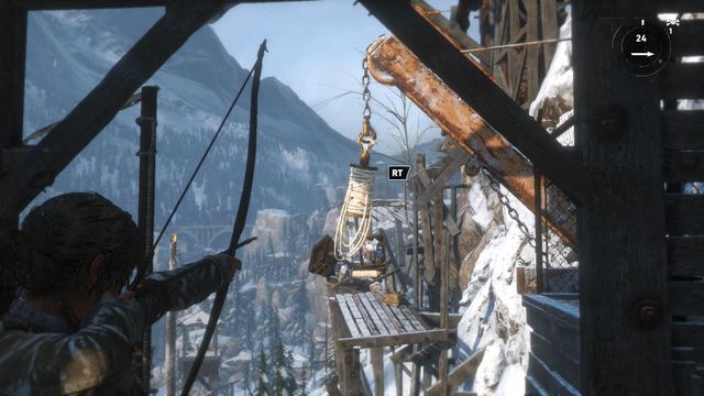Cross the room and you will reach a scaffolding up ahead - Climb the copper mill to reach the mine entrance | Alone Again - Alone Again - Rise of the Tomb Raider Game Guide & Walkthrough