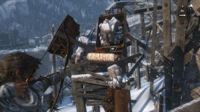 Get rid of the cart that blocks your way, by shooting another rope arrow at it - Climb the copper mill to reach the mine entrance | Alone Again - Alone Again - Rise of the Tomb Raider Game Guide & Walkthrough