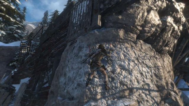 Walk over the narrow fragment of the scaffolding, leap towards the rocky wall and remember to jab your hatchet into it - Climb the copper mill to reach the mine entrance | Alone Again - Alone Again - Rise of the Tomb Raider Game Guide & Walkthrough