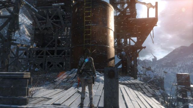 Climb up the ladder onto the small container and jump over from the container towards the ledge - Climb the copper mill to reach the mine entrance | Alone Again - Alone Again - Rise of the Tomb Raider Game Guide & Walkthrough