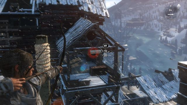 Shoot an arrow at the rope bundle at the other side of the chasm, while next to the stump covered in rope - Climb the copper mill to reach the mine entrance | Alone Again - Alone Again - Rise of the Tomb Raider Game Guide & Walkthrough