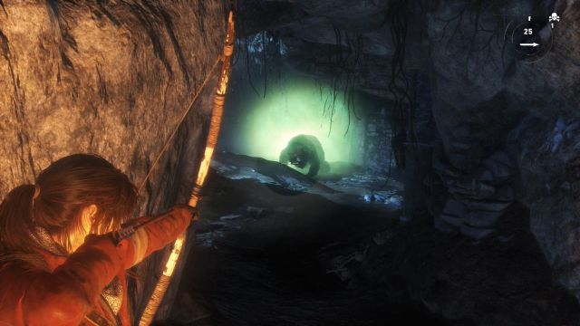 As soon as you peek from behind the corner, you will spot the animal - Defeat the bear | Siberian Wilderness - Best Laid Plans - Siberian Wilderness - Best Laid Plans - Rise of the Tomb Raider Game Guide & Walkthrough