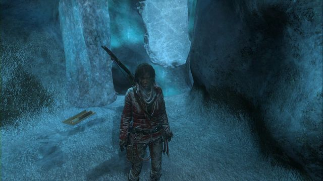 After you come down into the caverns, turn around towards the entrance and over the layer of ice, climb onto the ledge above - Documents | Glacial Caverns - Glacial Caverns - Rise of the Tomb Raider Game Guide & Walkthrough