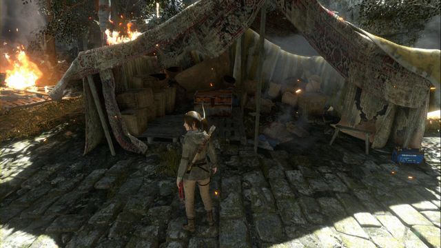 In the tent, opposite the path down into the lower location - Chests and murals | The Acropolis - The Acropolis - Rise of the Tomb Raider Game Guide & Walkthrough