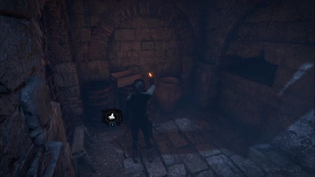 from Tower Courtyard, walk over to a larger chamber, where you find a descent into the catacombs - Chests and murals | The Acropolis - The Acropolis - Rise of the Tomb Raider Game Guide & Walkthrough