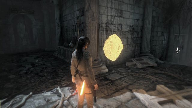 While escaping from the location, at the moment at which you climb out of the water - the mural is on the wall in the next corridor - Relics and murals | Flooded Archives - Flooded Archives - Rise of the Tomb Raider Game Guide & Walkthrough