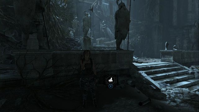 At the sculpture in the big chamber, where you found the atlas - Chests | Flooded Archives - Flooded Archives - Rise of the Tomb Raider Game Guide & Walkthrough