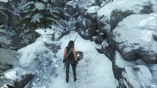 By the lake with a small waterfall, go left where you need to take the path between rocks - Survival Caches | Research Base - Research Base - Rise of the Tomb Raider Game Guide & Walkthrough