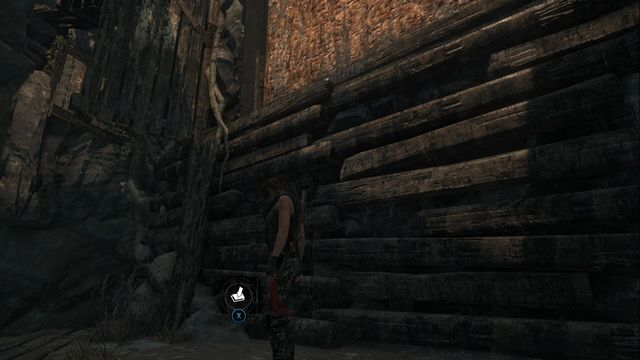 A moment after you enter the location, at the wooden wall, where you need to use climbing arrows - Survival Caches, murals and books | Planetarium - Planetarium - Rise of the Tomb Raider Game Guide & Walkthrough