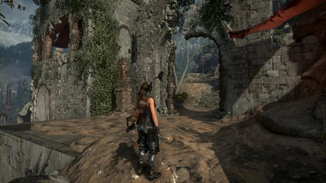 Then, climb up and go a bit to the left, by the peak of the mountain and walk past the red piece of cloth attached to the wall to your right - Quiet Time | Achievements - Achievements - Rise of the Tomb Raider Game Guide & Walkthrough