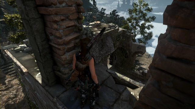 While in the corner of the ruins, you need to jump over into the center, to get to the spot shown in the screenshot - Quiet Time | Achievements - Achievements - Rise of the Tomb Raider Game Guide & Walkthrough