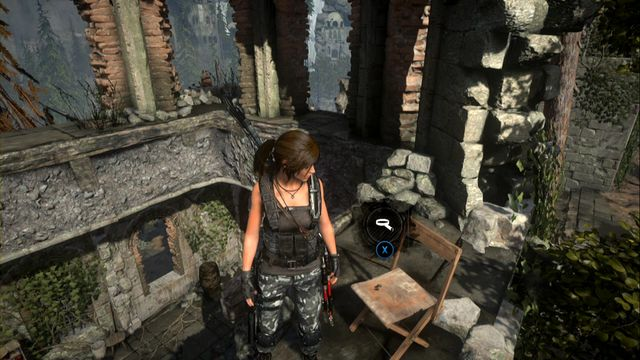 Finally, jump over to the projecting wall fragment on the left, where there is a chair - Quiet Time | Achievements - Achievements - Rise of the Tomb Raider Game Guide & Walkthrough