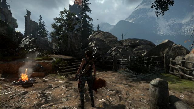 Your task is to throw the chicken up and to shoot the fire arrow at the dropping bird - Rotisserie | Achievements - Achievements - Rise of the Tomb Raider Game Guide & Walkthrough