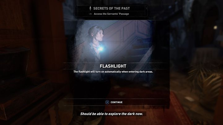 The flashlight turns on automatically when you are in a very dark place. - The road to the library | Blood Ties DLC Walkthrough - Walkthrough | Blood Ties DLC - Rise of the Tomb Raider Game Guide & Walkthrough