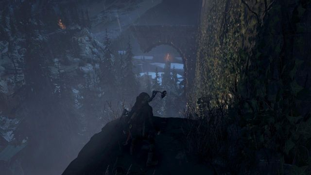 Use rope and hook to swing over to the projecting wall fragment shown in the screenshot - Scale the Cathedral to find the entrance | Silent Night - Silent Night - Rise of the Tomb Raider Game Guide & Walkthrough